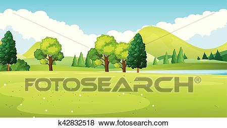 Park scene with green field Clip Art.