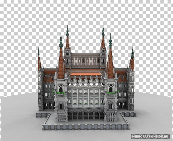 Hungarian Parliament Building Minecraft Facade Architecture.