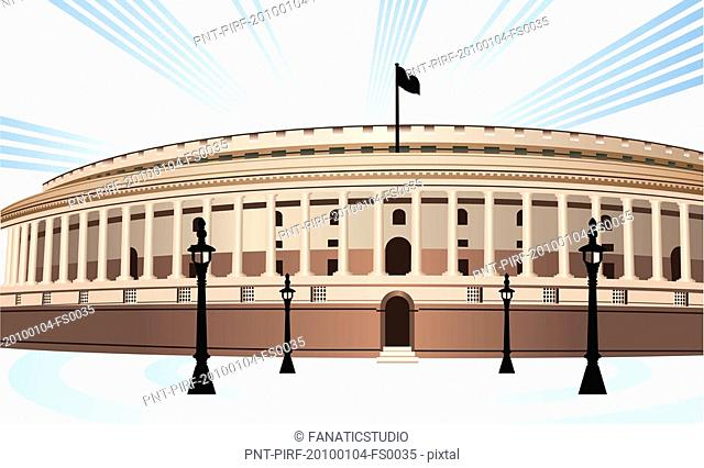 An illustration of indian parliament building Stock Photos.