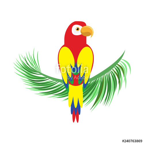 Icon of a sitting parrot. Tropical bird, simple parrot clipart.