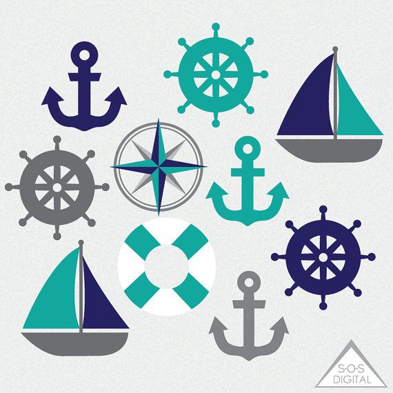 Nautical Clipart, Sailboat, Anchor, Teal and Navy, Beach, Boat.