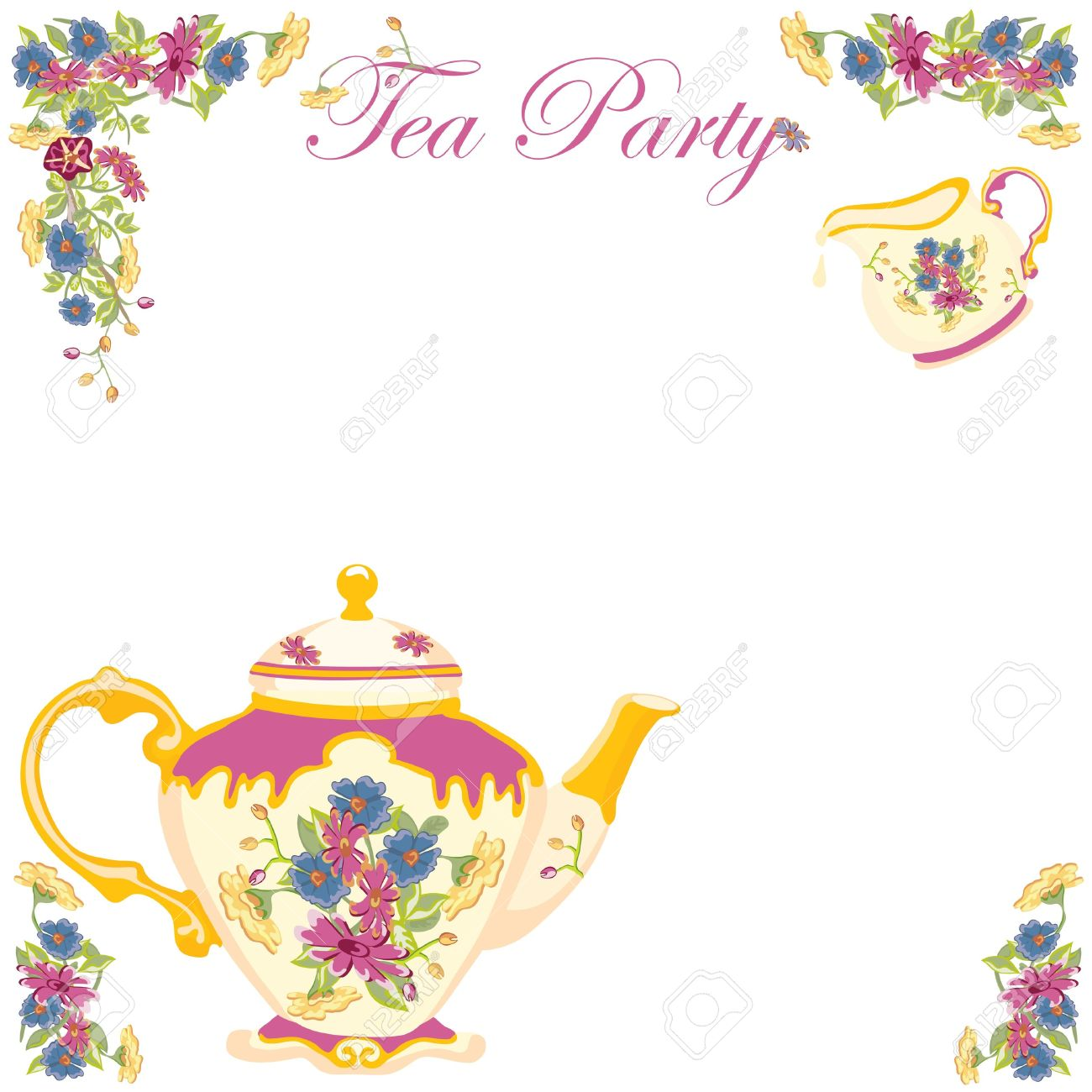 Tea Party Border Clipart.