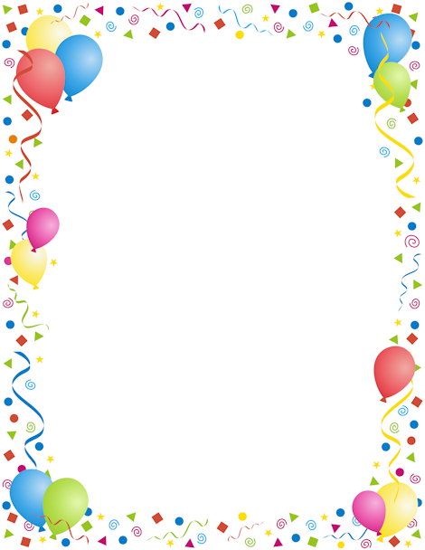 A page border with a party theme. Use for New Year's, birthdays.
