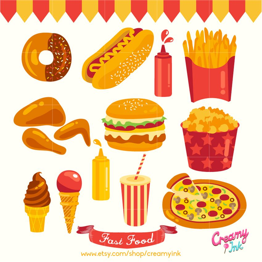 Party food digital clip art featuring fast food such as.
