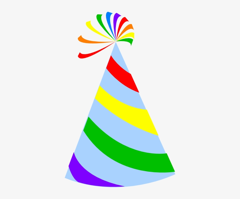 Rainbow Party Hat Sky Blue Clip Art At Clker.