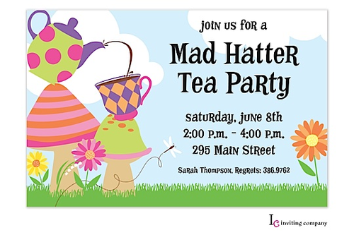 Mad Hatter Invitation Clipart.