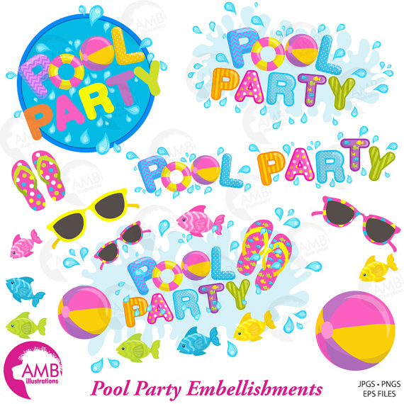 Pool Party Clipart, Titles and Embellishments, Pool Party.