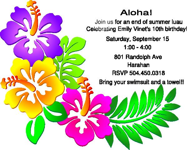 Luau Party Invitation Clip Art at Clker.com.
