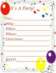 Balloons Party Invitation.