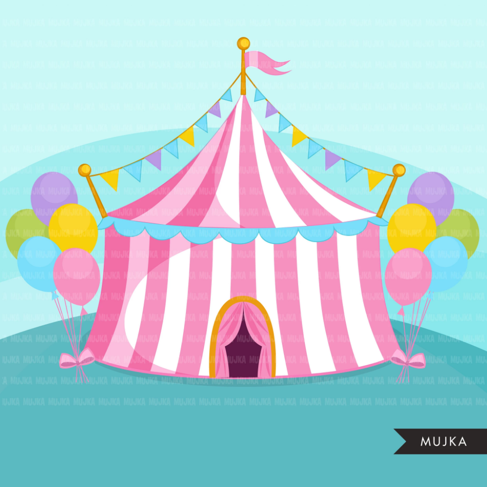 Circus Clipart pastel Big top carnival graphics, amusement.