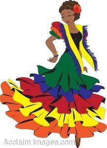 Latin Woman Dancing Traditional Mexican Dance.