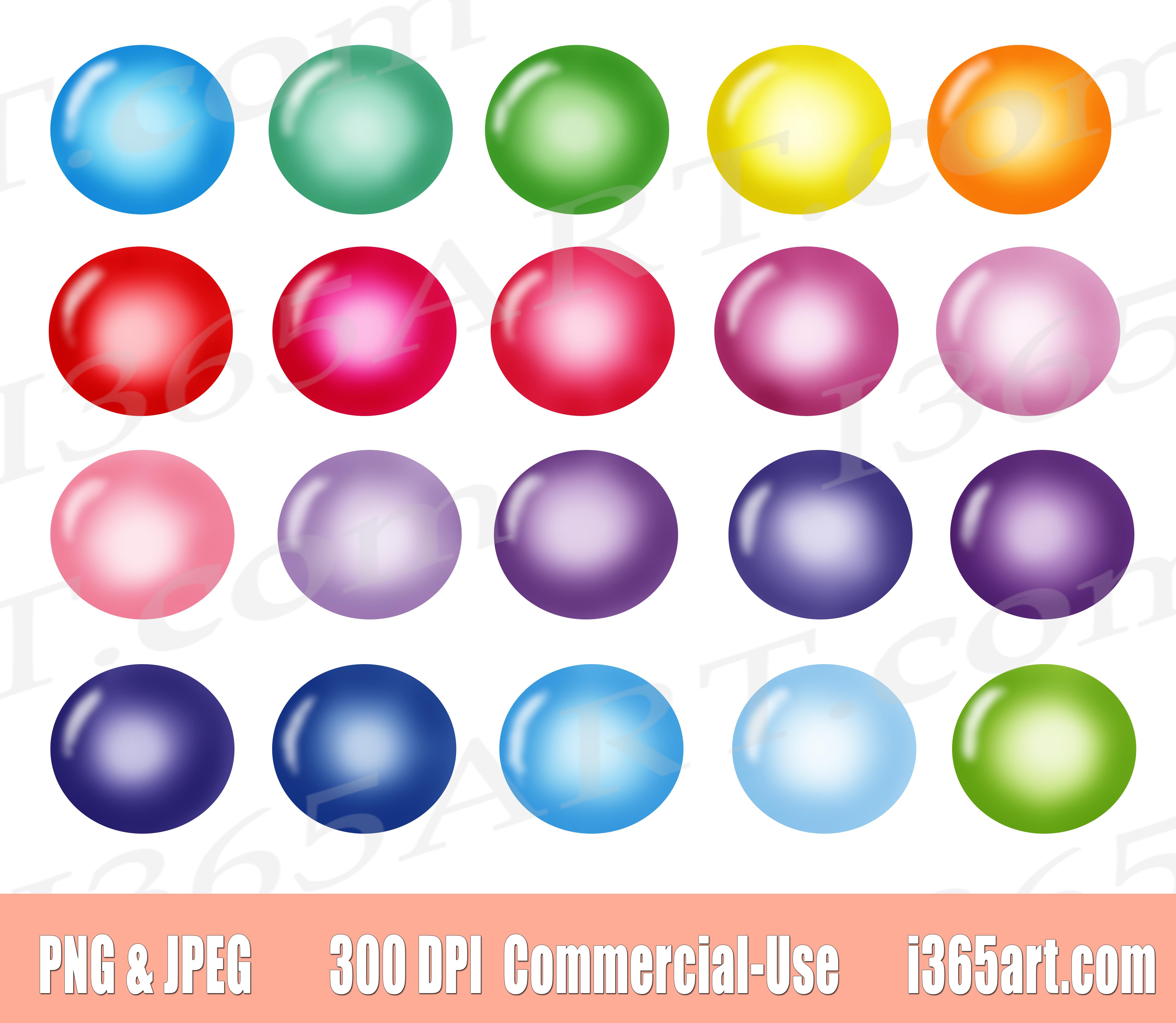 Rainbow Bubble Clipart, Pastel Bubbles Clip art.
