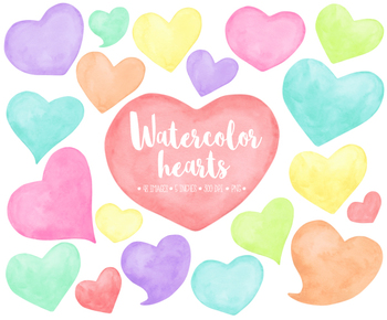 Hand Painted Watercolor Hearts Clipart. Pastel Mother's Day Clipart.