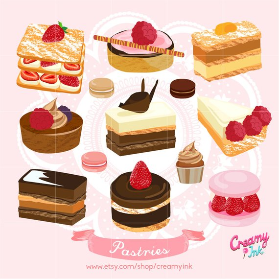 Cake Digital Vector Clip art/ Birthday Wedding Cakes Digital Clipart.