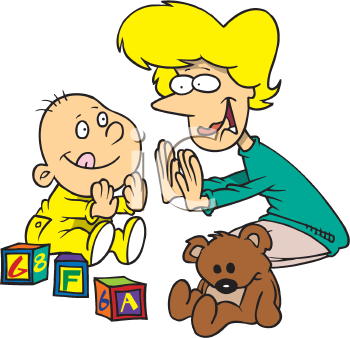 Royalty Free Clipart Image of a Mom and Child Playing Pat.