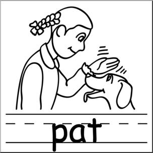 Clip Art: Basic Words: Pat B&W Labeled I abcteach.com.
