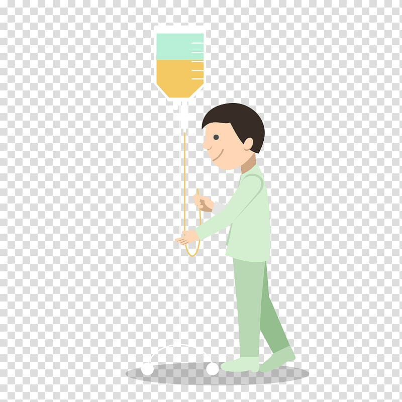 Cartoon Patient Physician Injection, Hanging bottle.