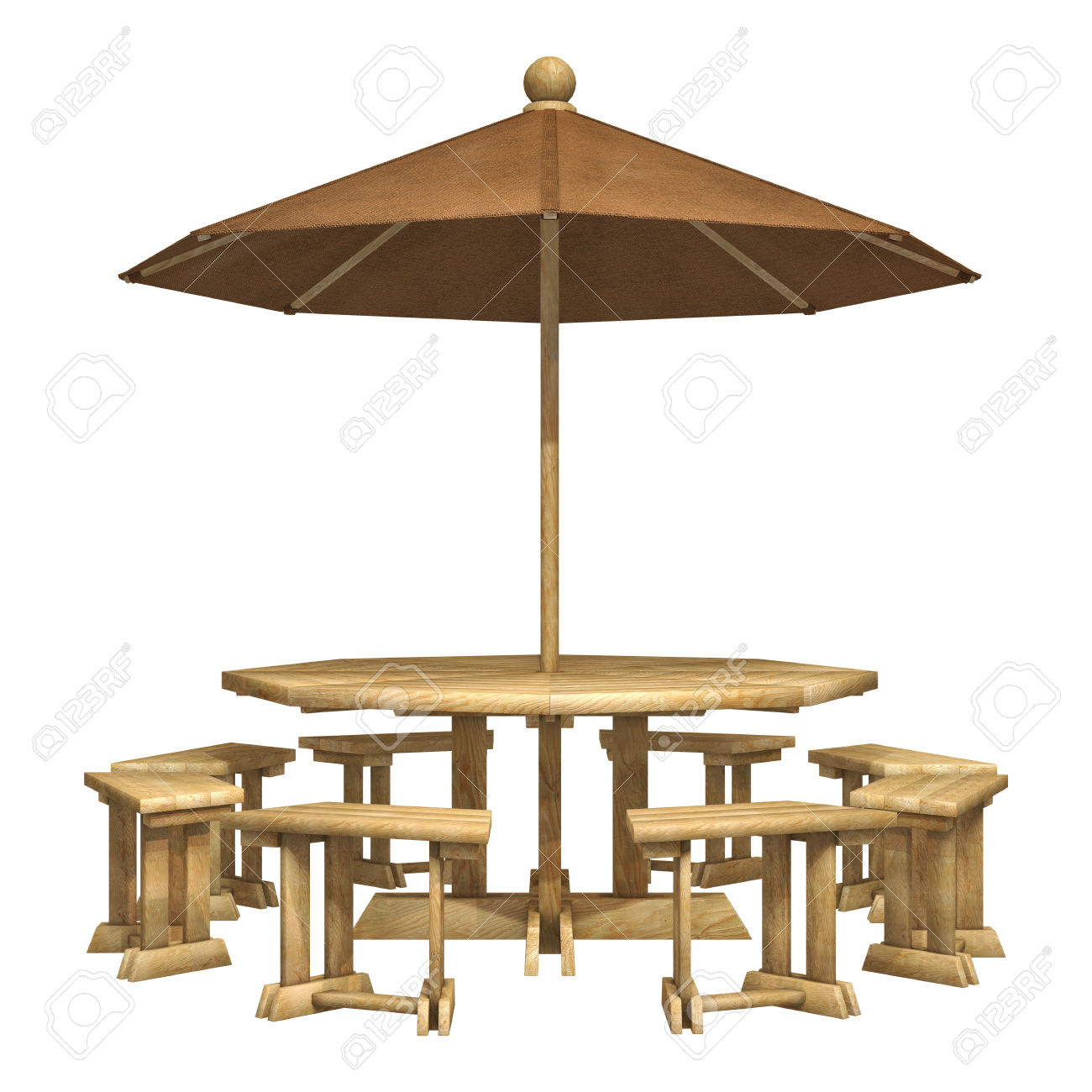 3D Digital Render Of A Wooden Patio Table, Chairs And Umbrella.