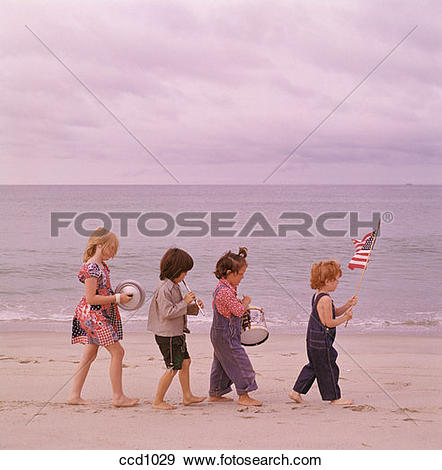 Stock Photograph of Patriotic picture of a pair of boys and girls.
