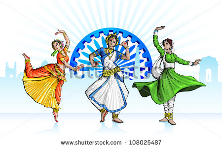 Illustration Indian Classical Dancer Performing Kathak Stock.