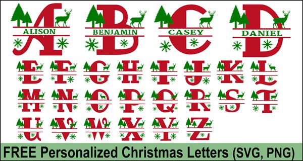 Christmas Clip Art Alphabet Letters (FREE Personalize Online.