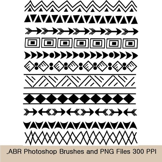 Photoshop Brushes and clip art borders, Indian, tribal 8.5.
