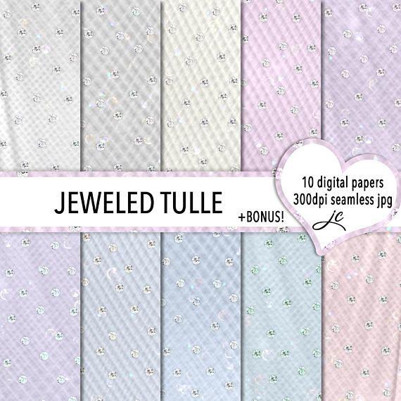 Jeweled Tulle Digital Papers + BONUS Photoshop Pattern Files.