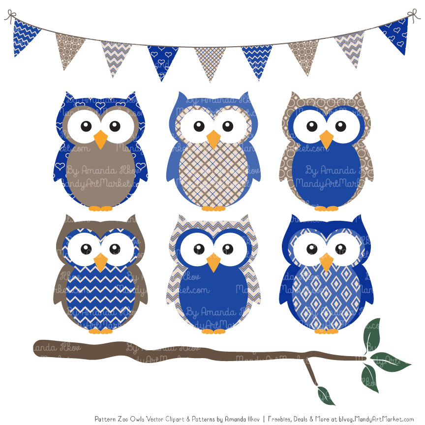 Royal Blue Patterned Owl Clipart & Patterns.