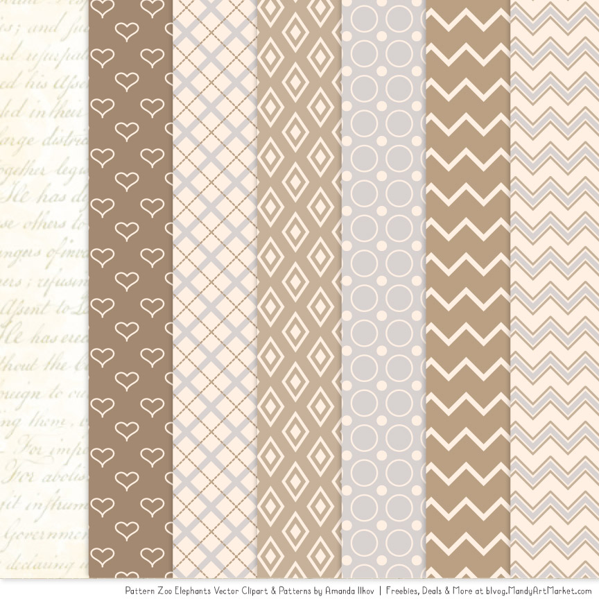 Champagne Patterned Elephant Clipart and Patterns.