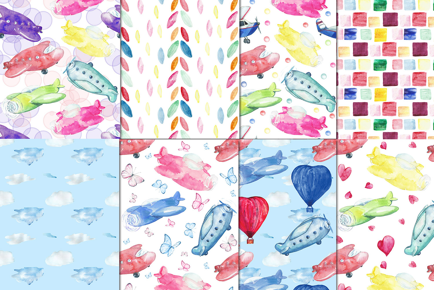 Watercolor Kids airplanes clipart, patterns.