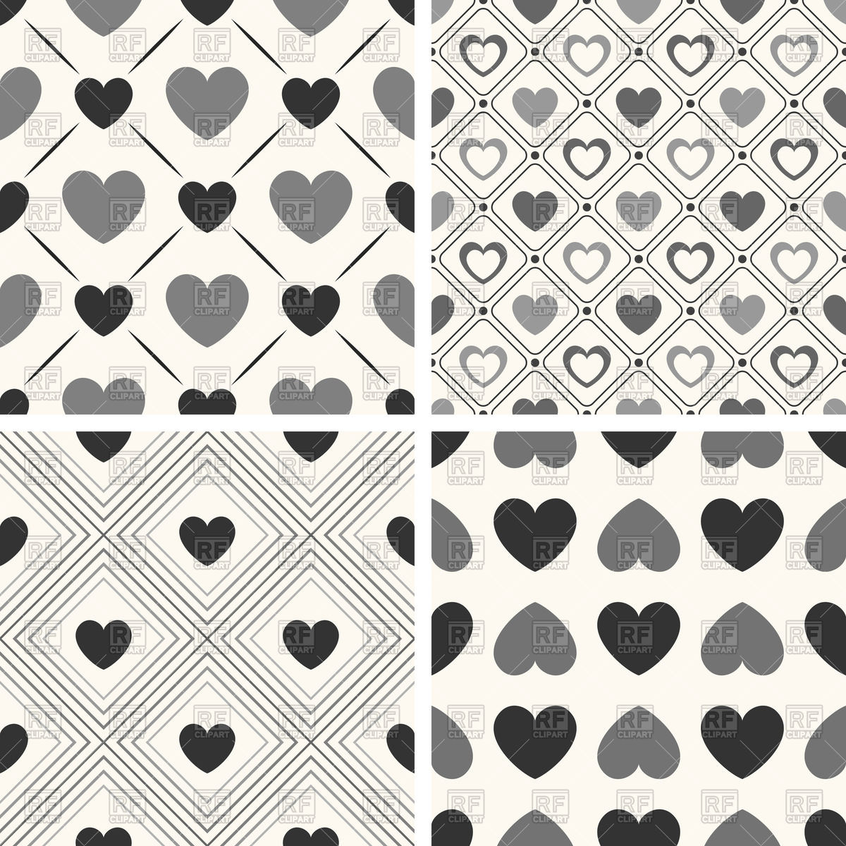 Seamless black and white patterns with hearts Stock Vector Image.