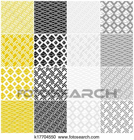 Geometric seamless patterns: squares, lines, waves Clipart.