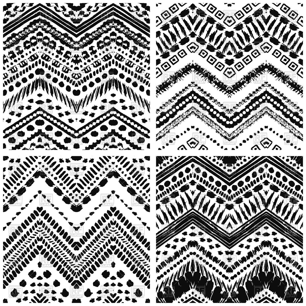Hand drawn art deco seamless patterns Stock Vector Image.