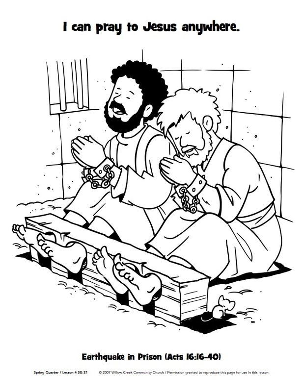 Paul And Silas In Jail Coloring Page.