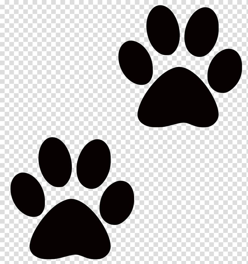 Two black paw prints, Dog Pet sitting Puppy Cat Paw.