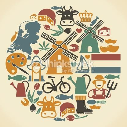 Symboles Des Paysbas Clipart vectoriel.