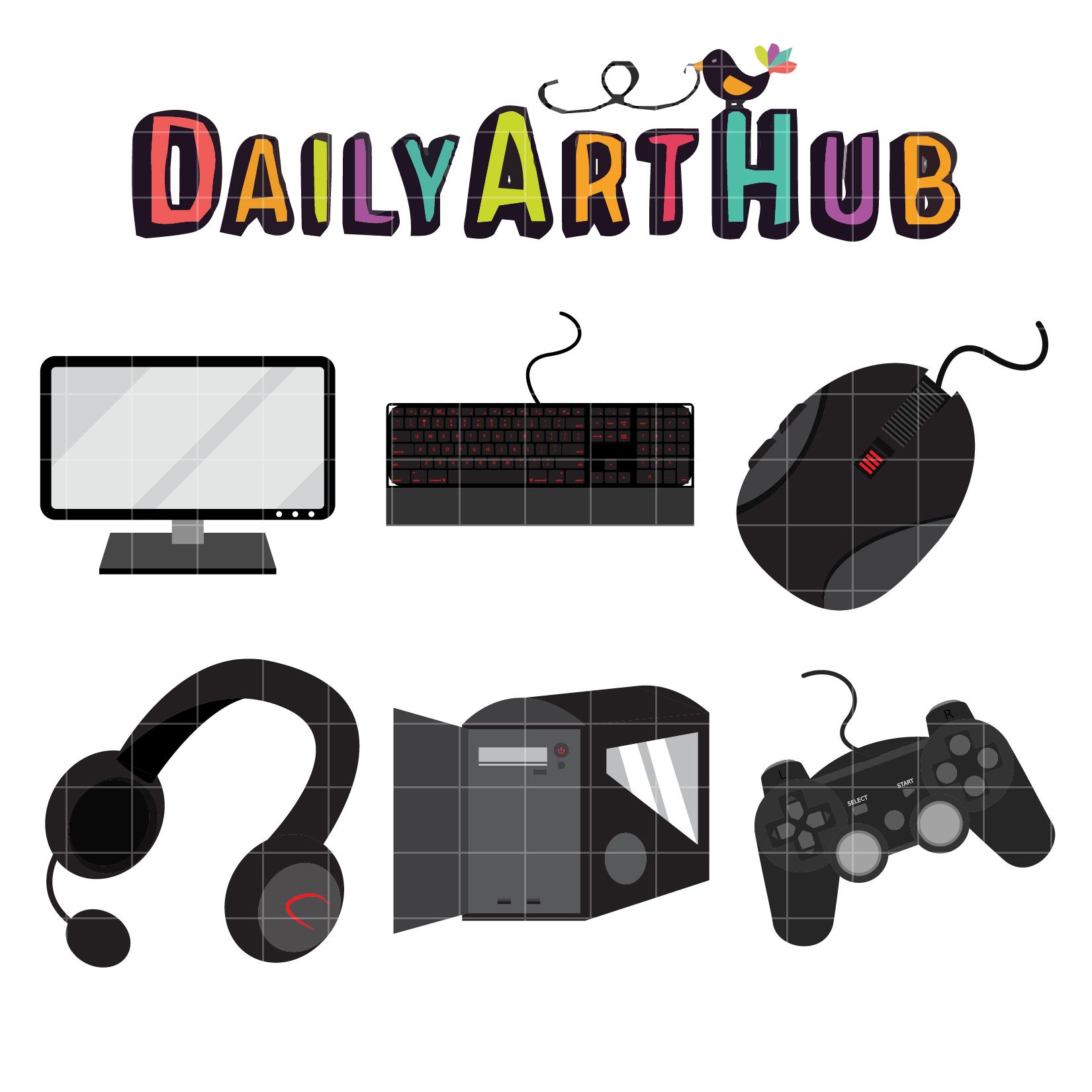 PC Gamer Gears Clip Art Set.
