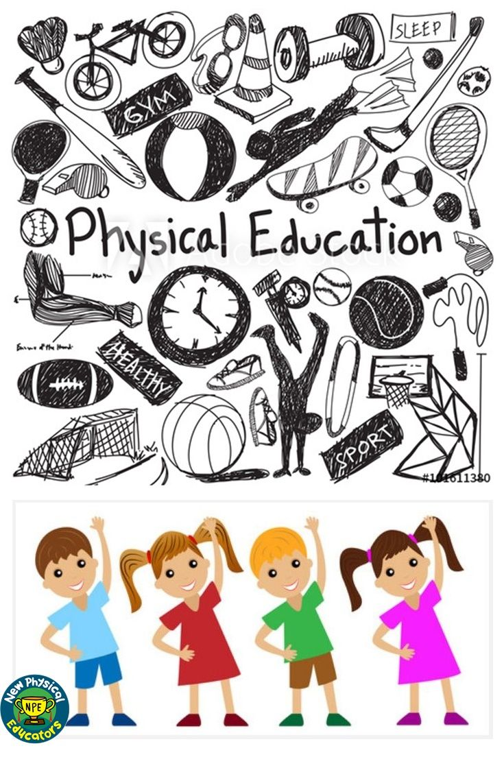 f11.22 Physical education exercise gym doodle icon and.