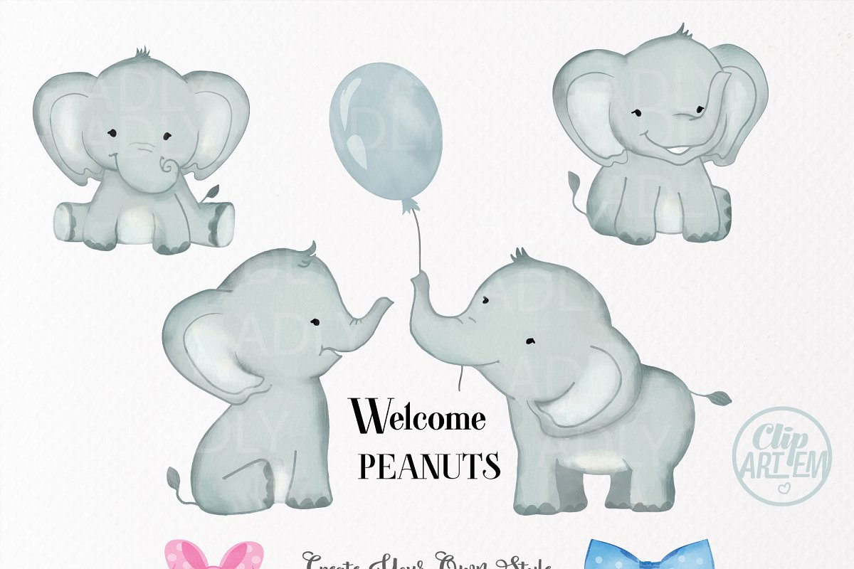 Peanut Elephant clipart with bow tie.