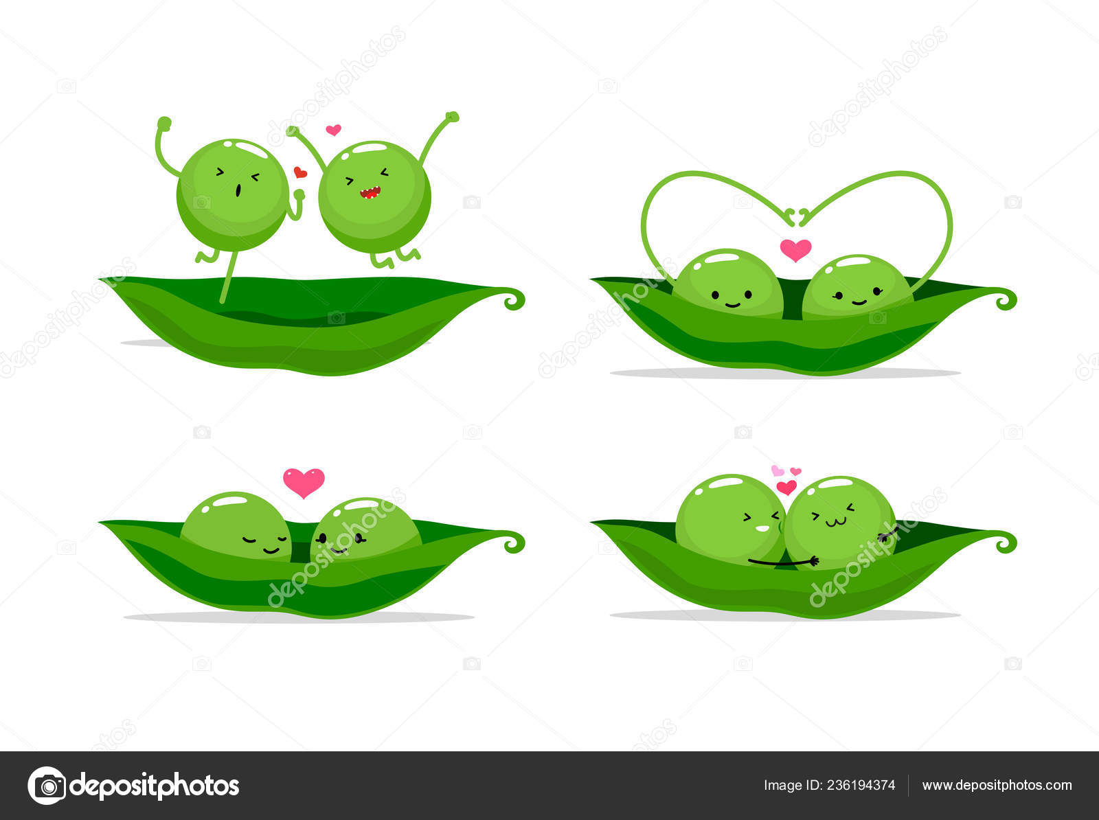 Clipart: two peas in a pod.