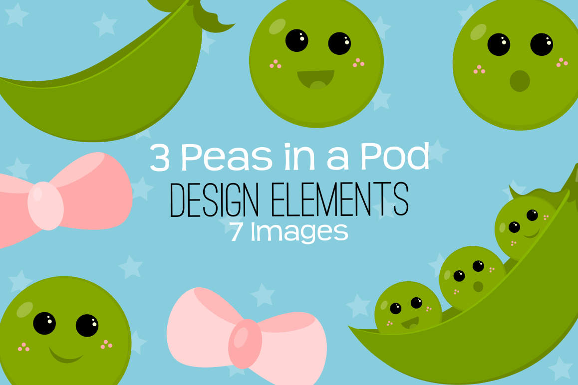 3 Peas In A Pod Graphics, Illustrations, Clipart.
