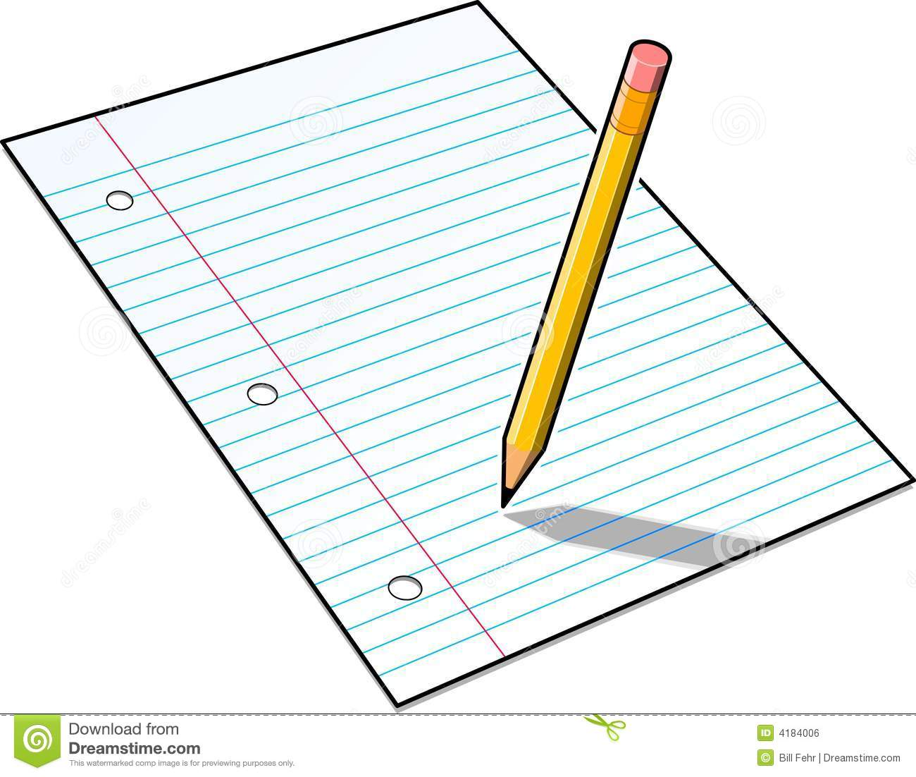 Clipart Of Paper And Pencil.