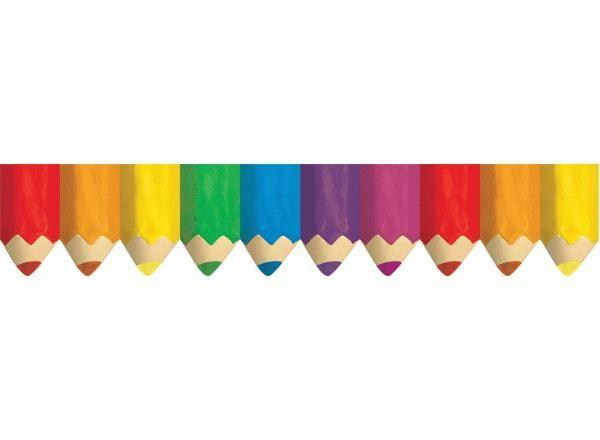 Jumbo Coloured Pencils Classroom Display Border.