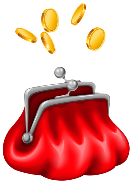 Purse with Coins Clipart.