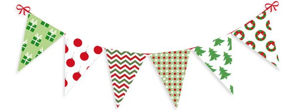 12 Christmas Pennant Banners Clipart Collection.
