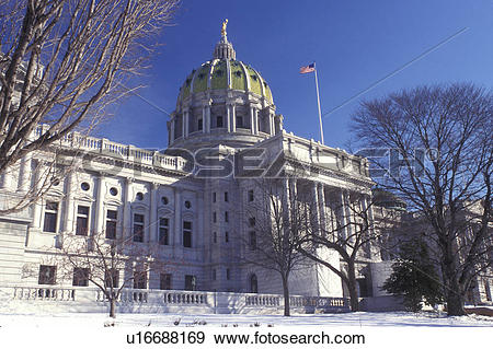 Stock Photograph of State Capitol, State House, Pennsylvania.