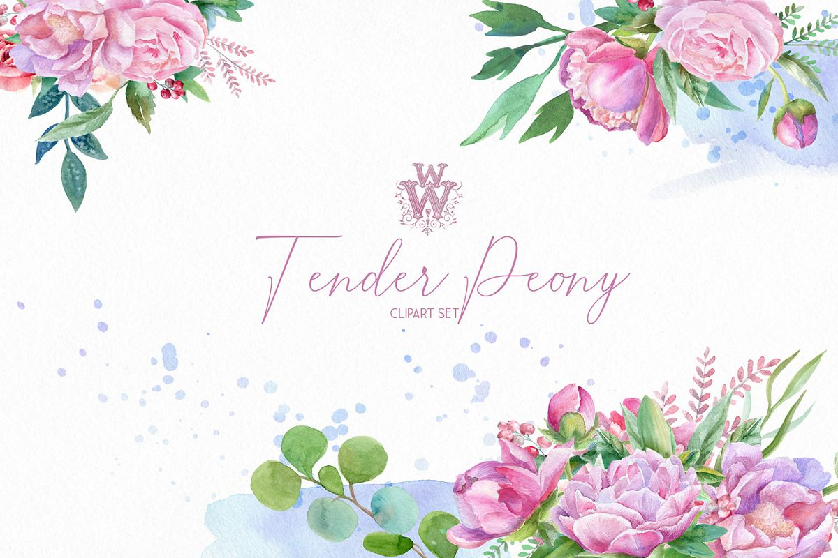 Watercolor peonies floral bouquets clipart, peony wreath.