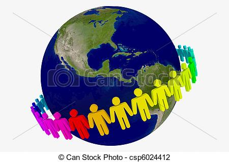 Clipart of People around the world holding hands csp6027841.