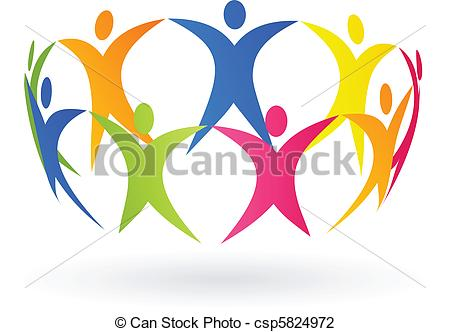 Clip Art Vector of people around the world.