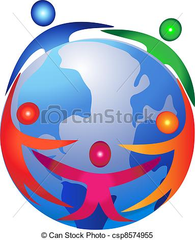 Clipart Vector of People around the world logo csp8574955.